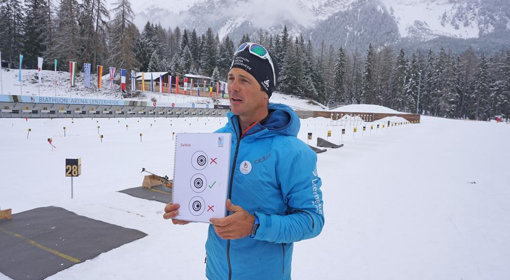 Franco zeigt das perfekte Schießbild in der Biathlon Arena Lenzerheide