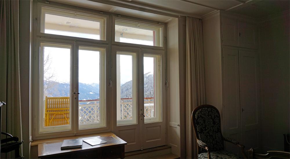Ausblick aus dem Kaiserzimmer im Hotel Schatzalp