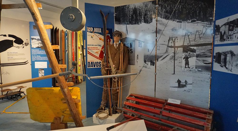 Ausstellung zum ersten Skilift in Davos