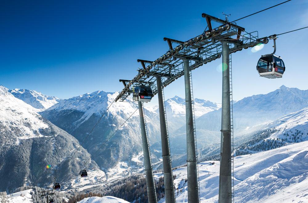 Gondel im Skigebiet Sölden © Ötztal Tourismus / Rudi Wyhlidal