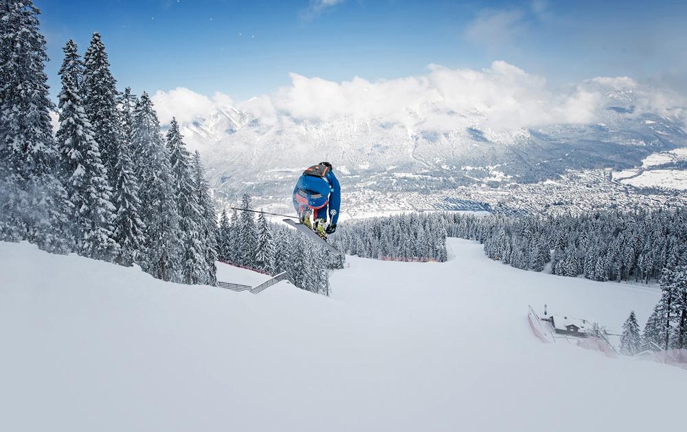 Skifahrer auf der Kandahar in Garmisch-Classic