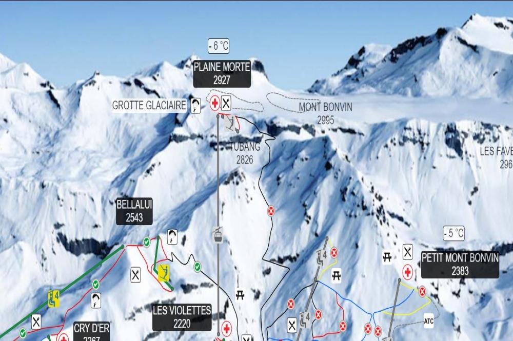 Ausschnitt des Pistenplans des Schweizer Skigebiets Crans Montana