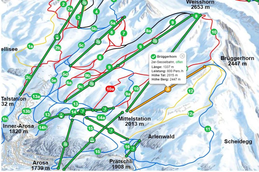 Ausschnitt Pistenplan des Skigebiets Arosa Lenzerheide
