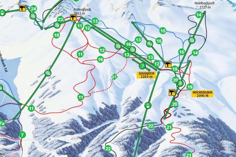 Ausschnitt Giggijoch und Höchsölden des interaktiven Pistenplans vom Skigebiet Sölden