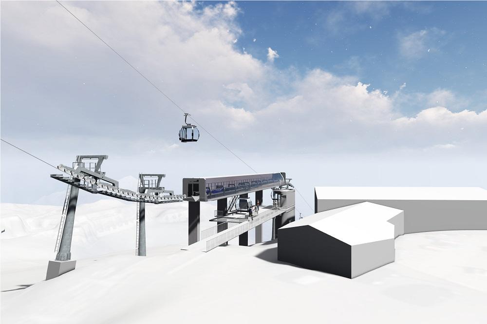 Visualisierte Mittelstation der neuen 10er-Gondelbahn Rotkogl