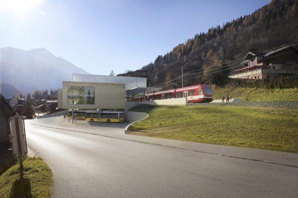 Visualisierte Talstation der neuen Gondelbahn im Ort Fiesch mit den verschiedenen Verkehrsmitteln
