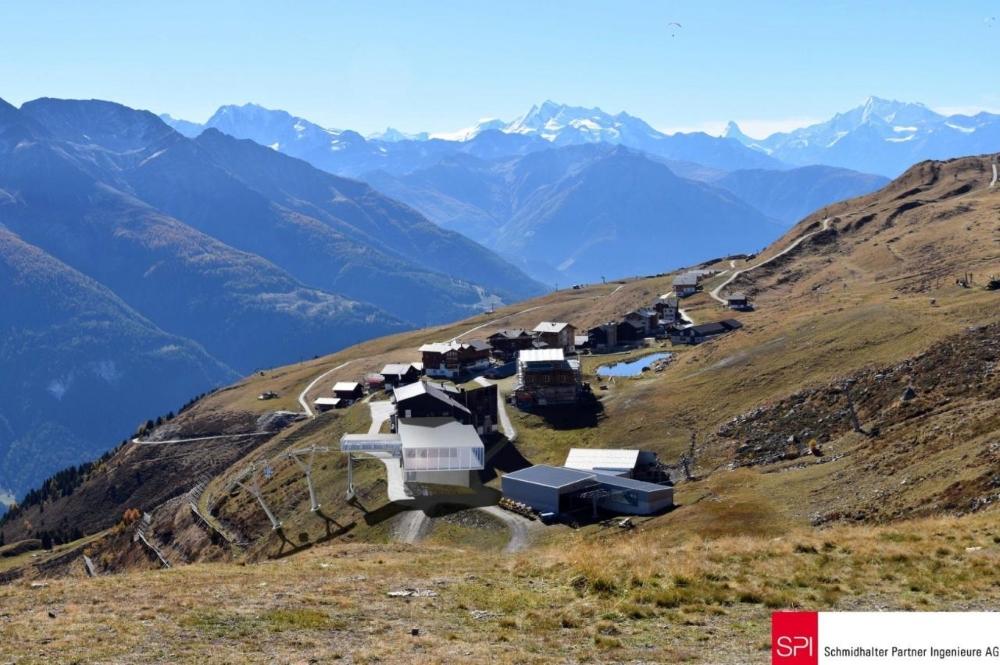 Visualisierte Bergstation der neuen Gondelbahn an der Fiescheralp