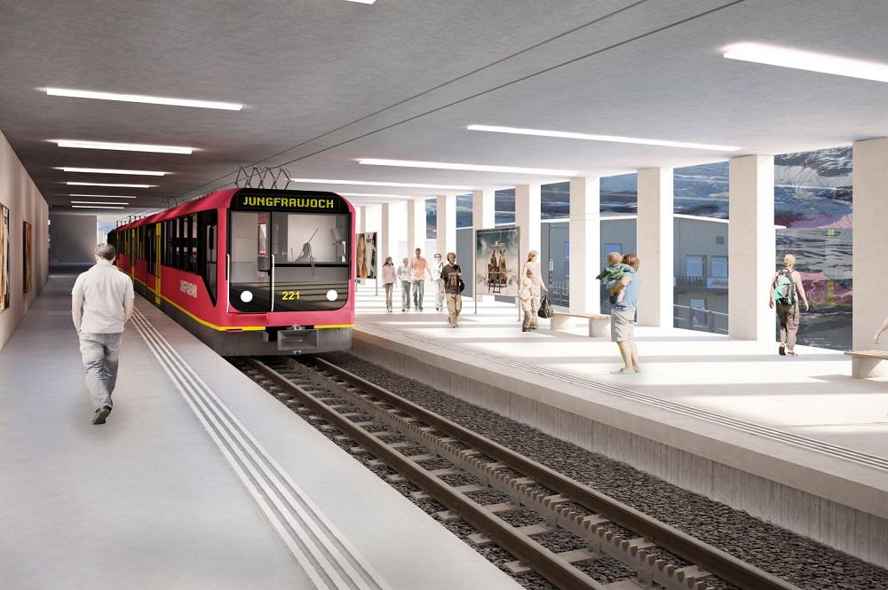 Visualisierter Bahnhof der Jungfraubahn an der Bergstation des Eigerexpress in der Jungfrauregion