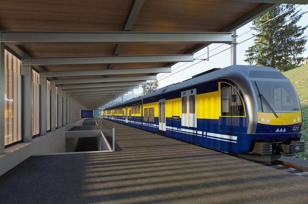 Visualisierter Bahnhof mit BOB-Zug am Terminal in Grindelwald