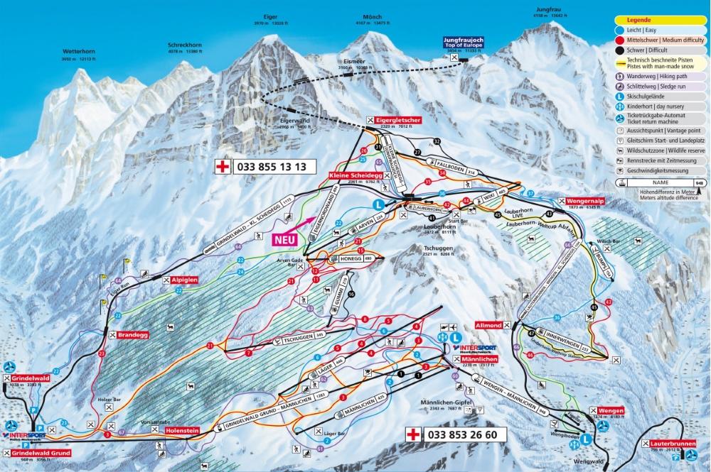 Pistenplan des Skigebiets Grindelwald-Wengen