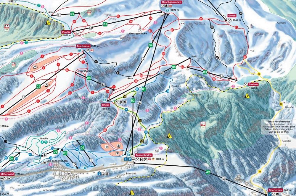 Ausschnitt des Pistenplans des Skigebiets Flumserberg