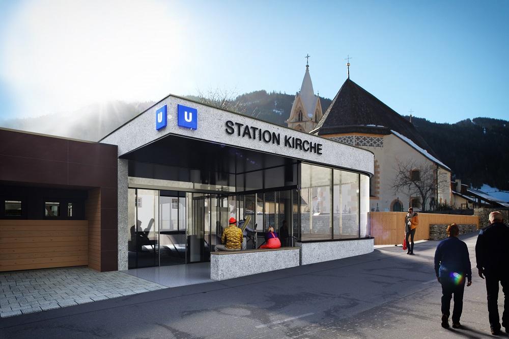 Neue Bahnstation Kirche der Luftkissenbahn in Serfaus
