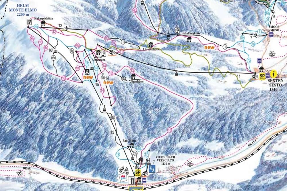 Ausschnitt des Pistenplans des Skigebiets Drei Zinnen Dolomiten