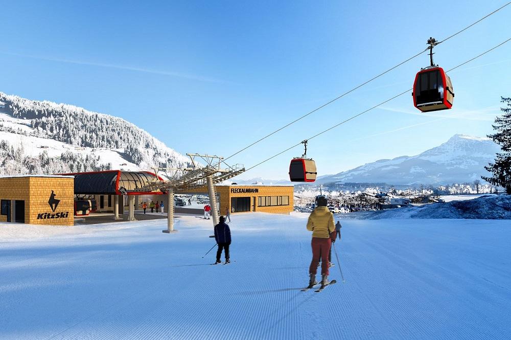 Visualisierte Talstation der Fleckalmbahn im Skigebiet Kitzbühel