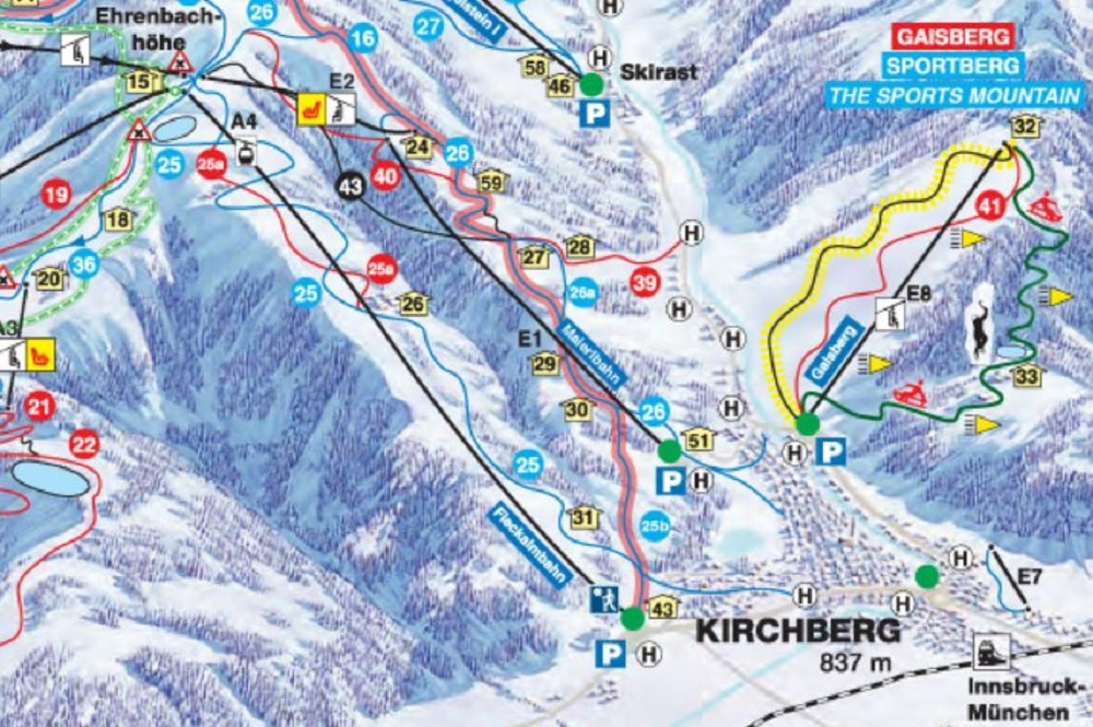 Ausschnitt des Pistenplans des Skigebiet Kitzbühel