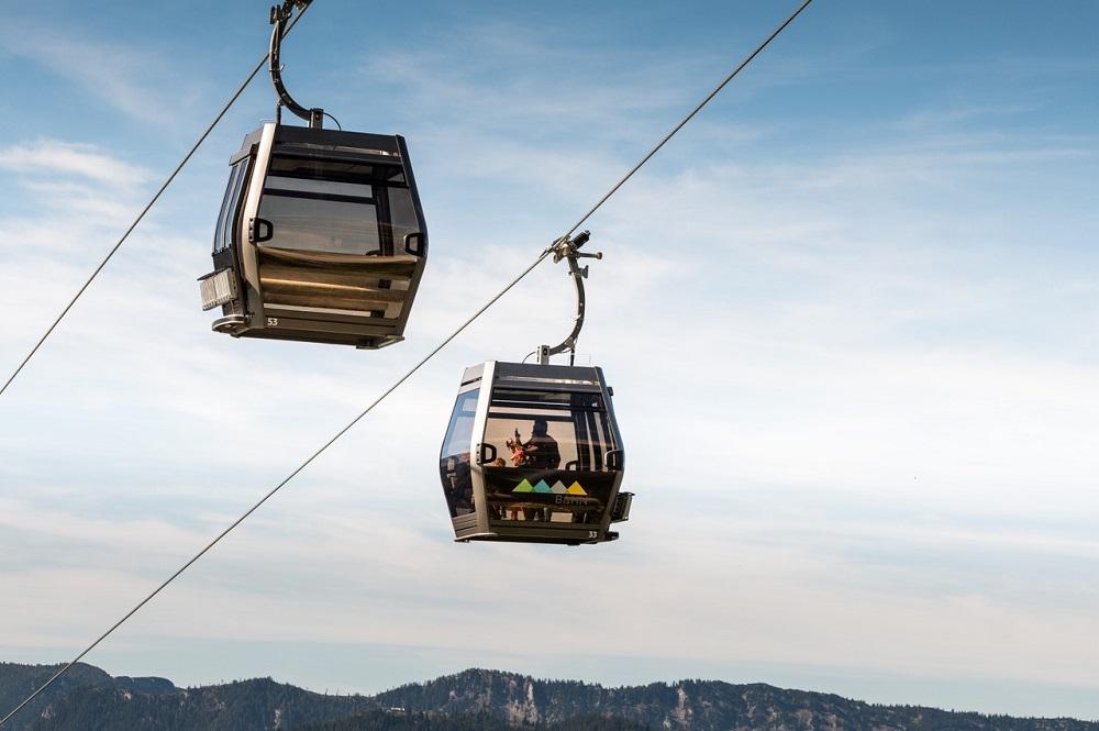 Gondeln der neuen Gondelbahn Jennerbahn im Skigebiet Jenner-Königssee