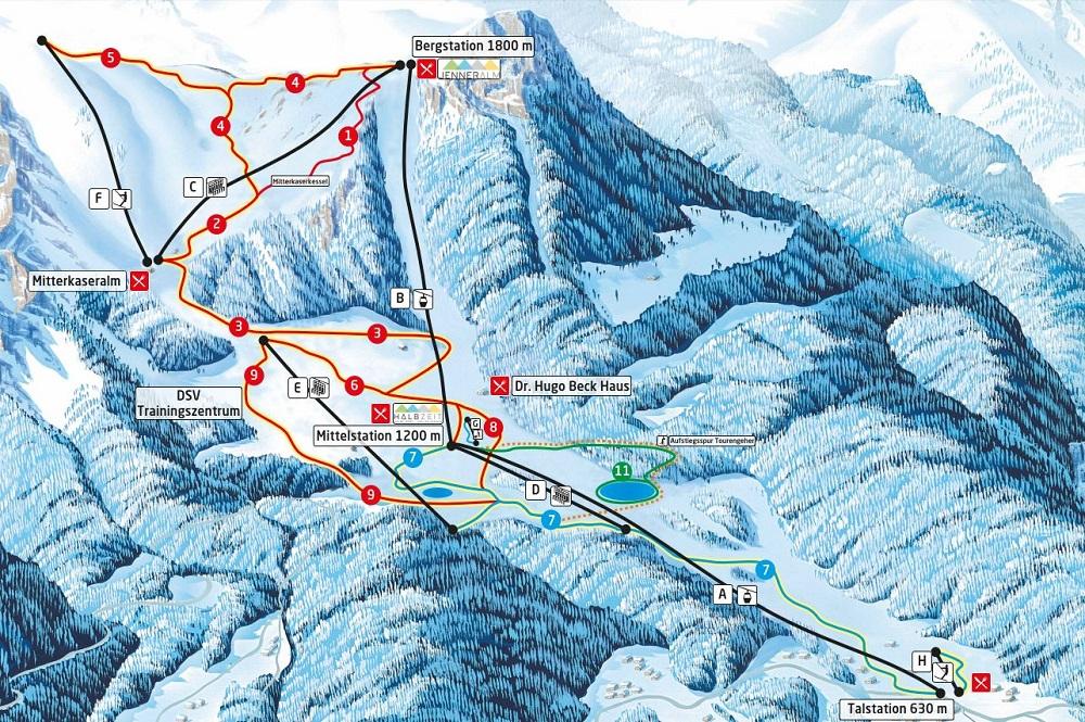 Pistenplan vom Skigebiet Jenner-Königssee
