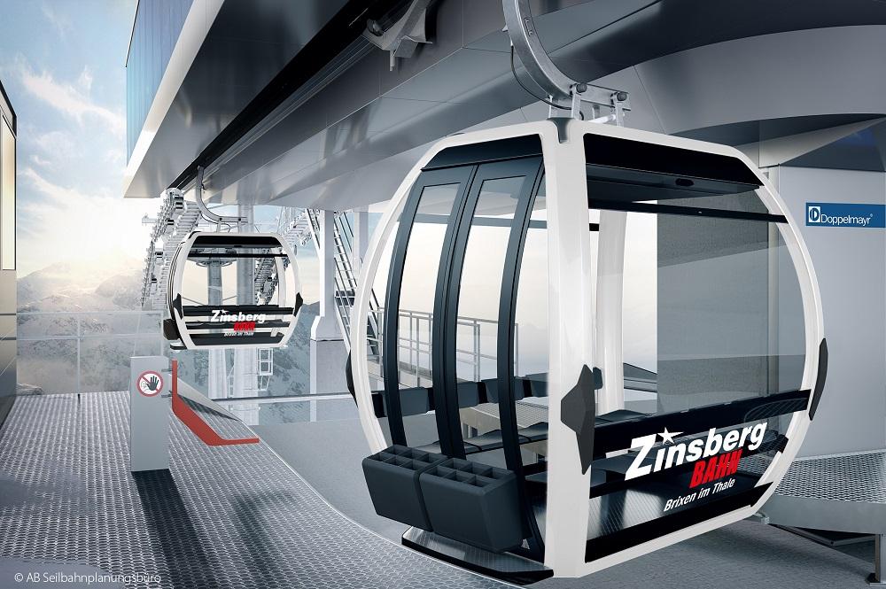 10er-Gondeln der neuen Kombibahn Zinsberg in der Bergstation im Skigebiet SkiWelt Wilder Kaiser-Brixental