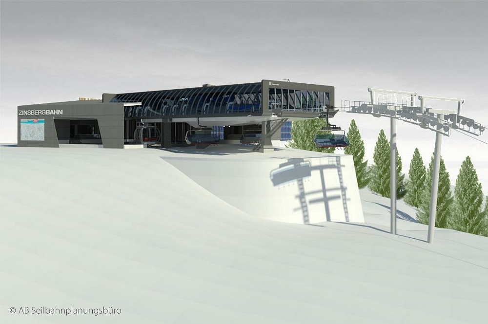 Visualisierte Bergstation der neuen Kombibahn Zinsberg im Skigebiet SkiWelt Wilder Kaiser-Brixental