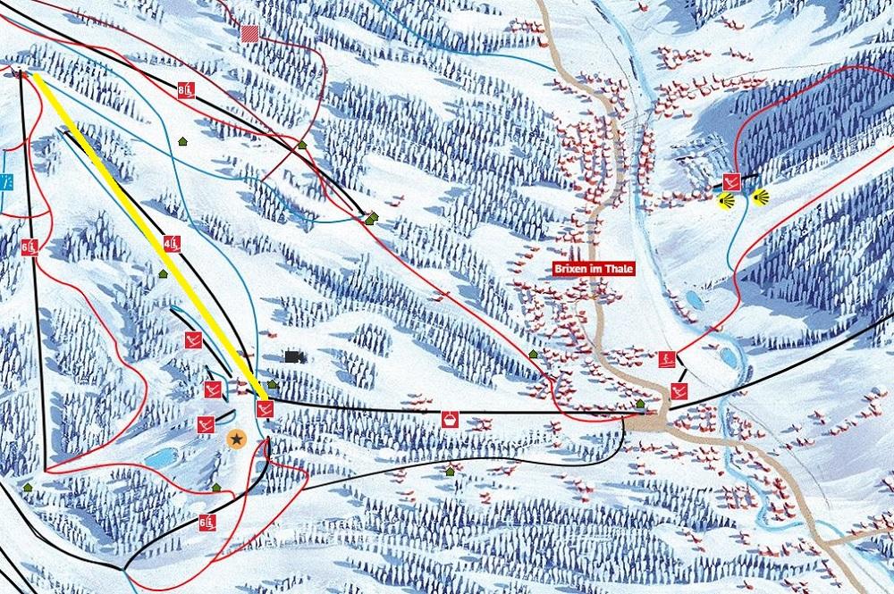 Ausschnitt des Pistenplans SkiWelt Wilder Kaiser-Brixental