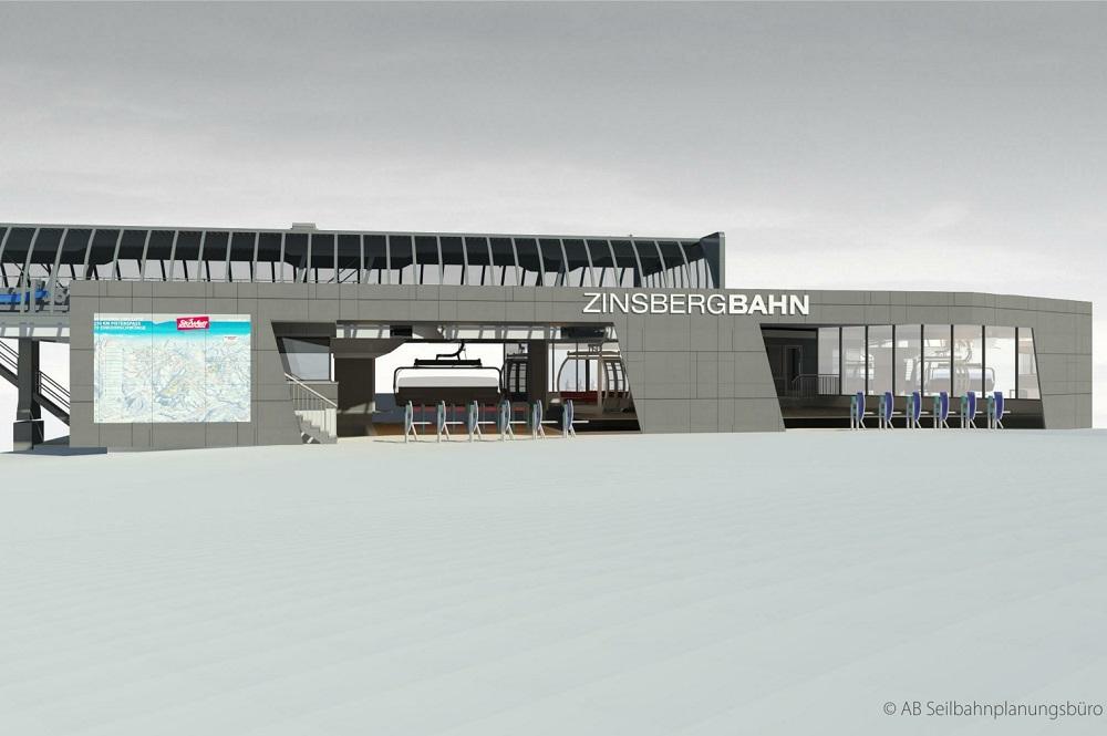 Einstiegsbereich in der Talstation der neuen Kombibahn Zinsberg im Skigebiet SkiWelt Wilder Kaiser-Brixental