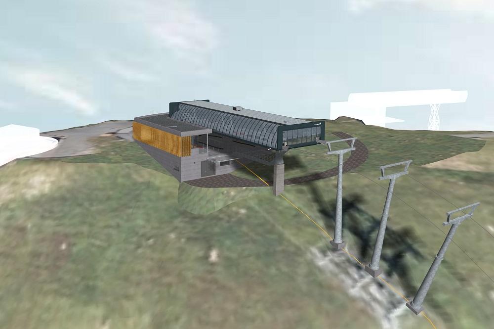 Visualisierte Bergstation der neuen Zwölferkogelbahn im Skicircus Saalbach Hinterglemm Leogang Fieberbrunn