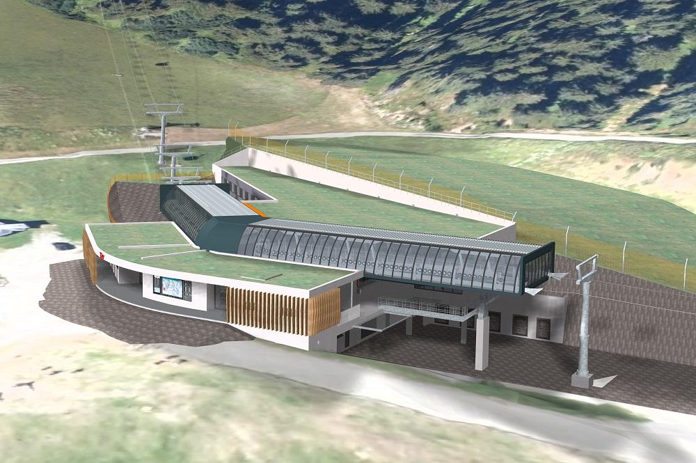 Visualisierte Mittelstation der neuen Zwölferkogelbahn im Skicircus Saalbach Hinterglemm Leogang Fieberbrunn