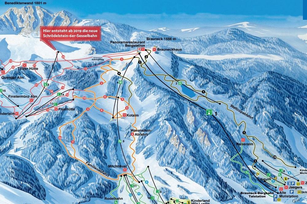 Pistenplan mit der neuen 6er-Sesselbahn Schrödelstein im Skigebiet Brauneck-Wegscheid