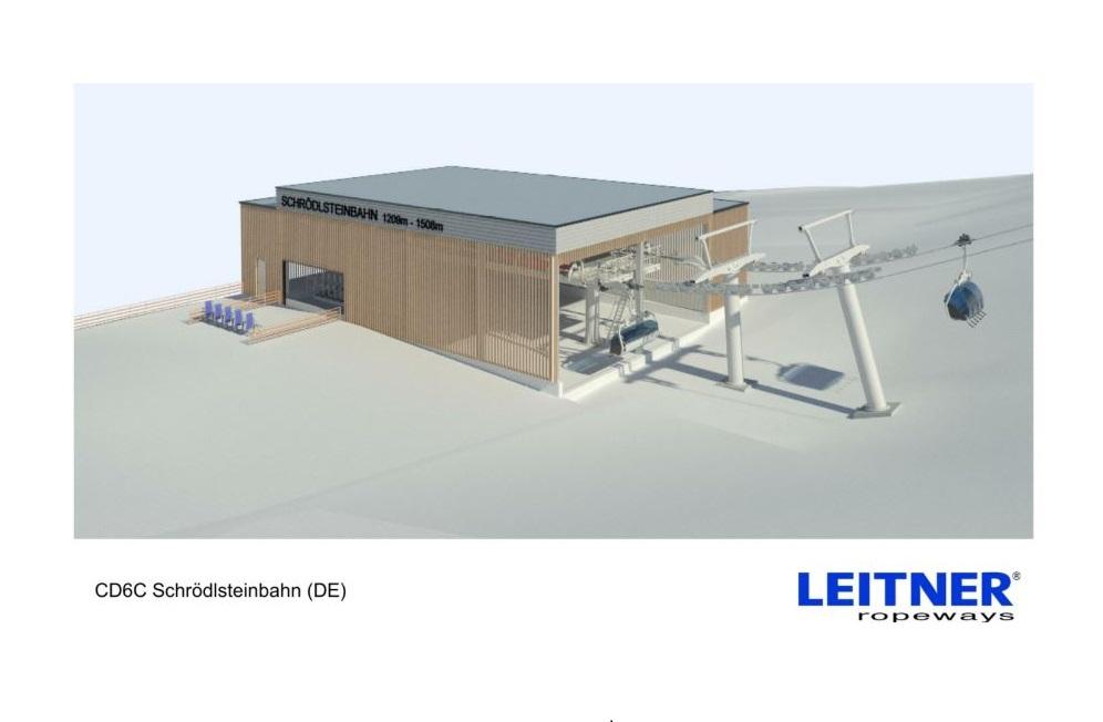 Visualisierte Talstation der neuen Schrödelsteinbahn im Skigebiet Brauneck-Wegscheid