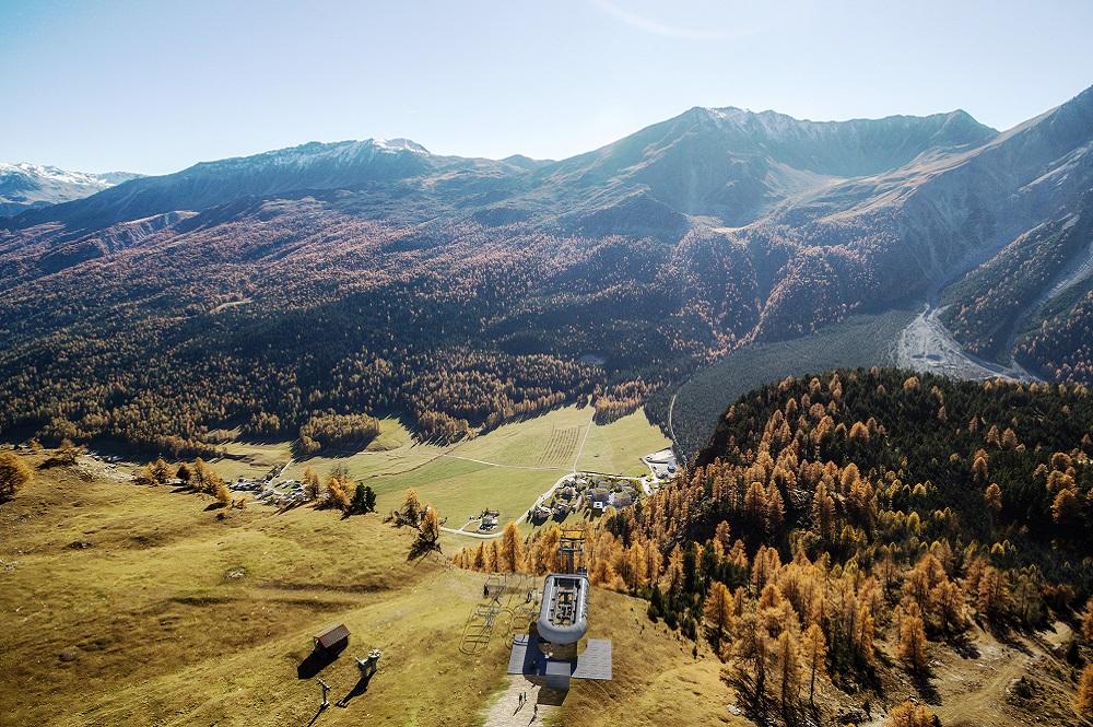 Visualisierte Bergstation der neuen Gondelbahn mit dem Val Müstair im Hintergrund