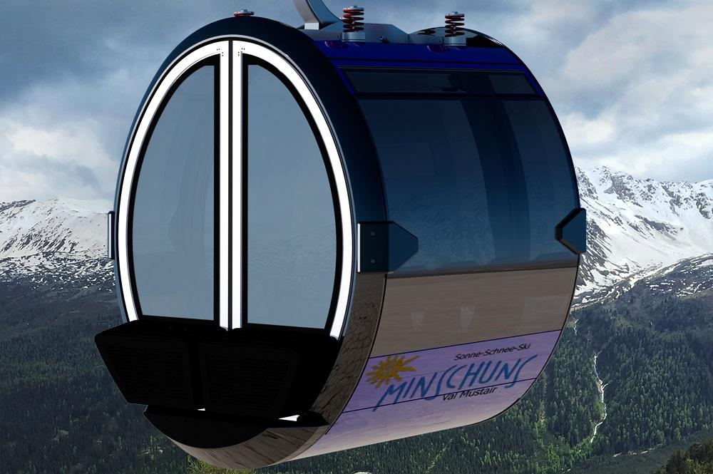 Visualisierte 8er-Gondel der neuen Gondelbahn im Skigebiet Minschuns