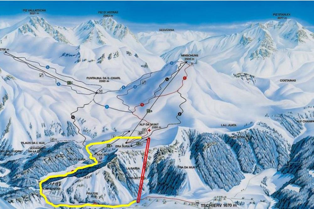 Pistenplan vom Skigebiet Minschuns mit den markierten Projekten der Gondelbahn und der Talabfahrt
