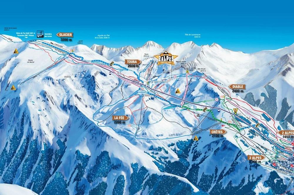 Pistenplan des Skigebiets Les Deux Alpes