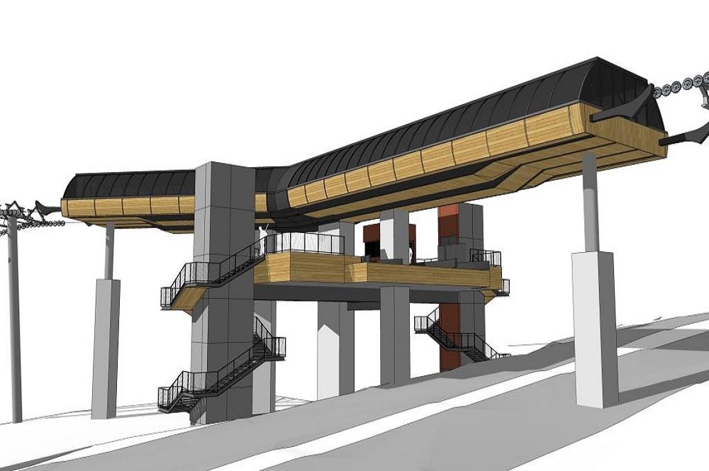 Visualisierte Mittelstation der neuen Gondelbahn im Skigebiet L'Alpe d'Huez