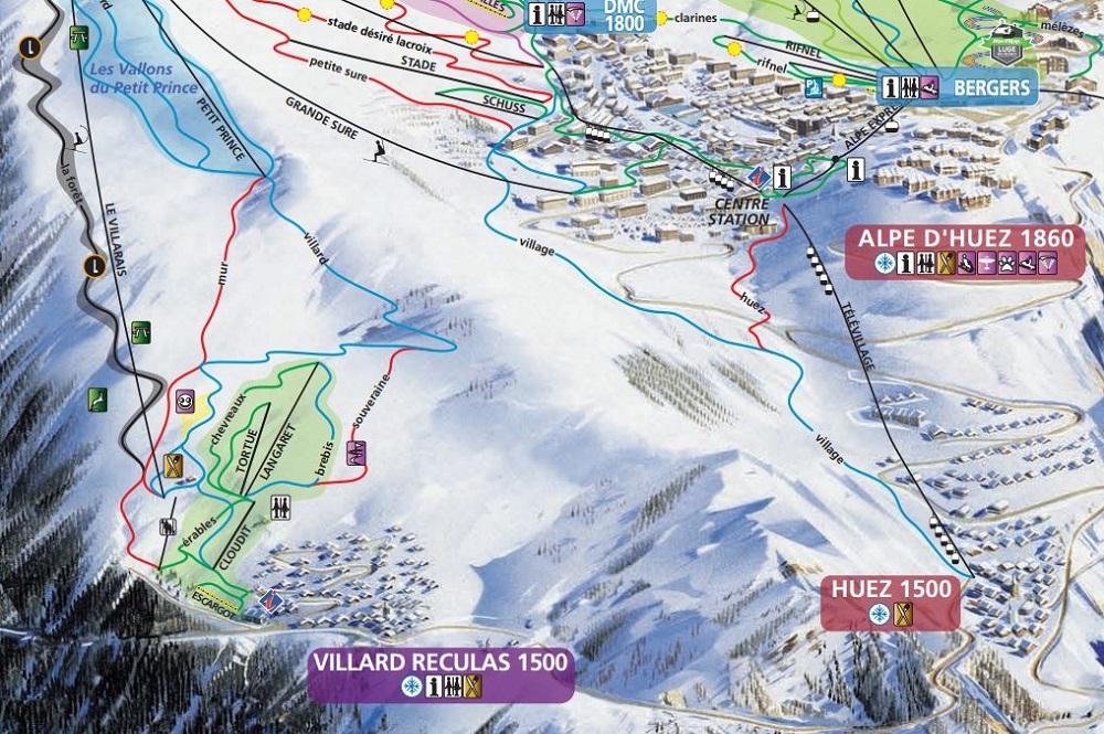 Ausschnitt des Pistenplans des Skigebiets L'Alpe d'Huez