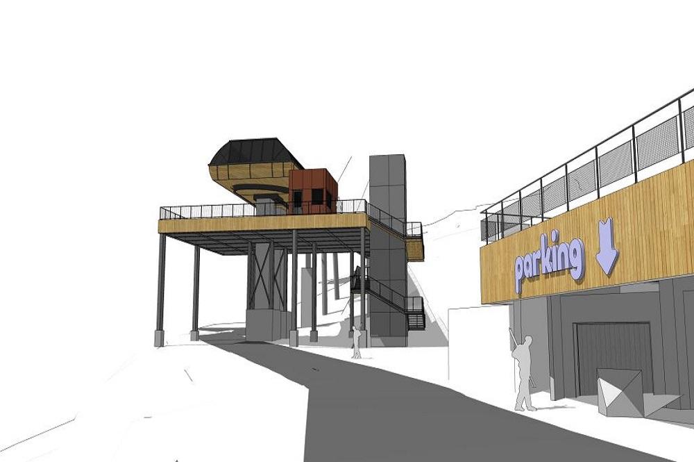 Visualisierte Talstation der neuen 10er-Gondelbahn im Skigebiet L'Alpe d'Huez
