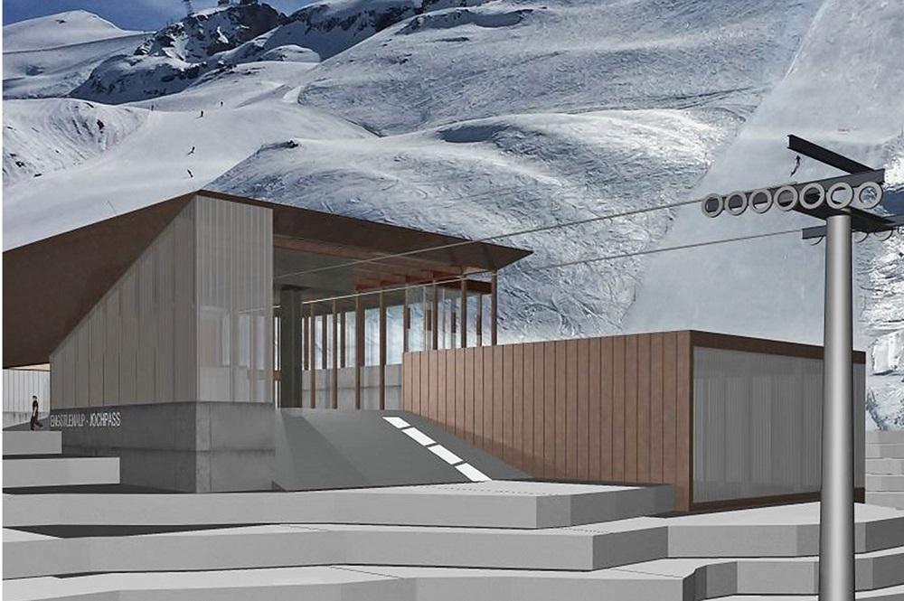 Visualisierte Bergstation der neuen 6er-Sesselbahn mit einigen Pisten im Hintergrund im Skigebiet Engelberg Titlis