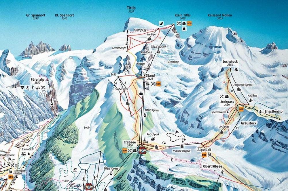 Pistenplan des Skigebiets Engelberg Titlis