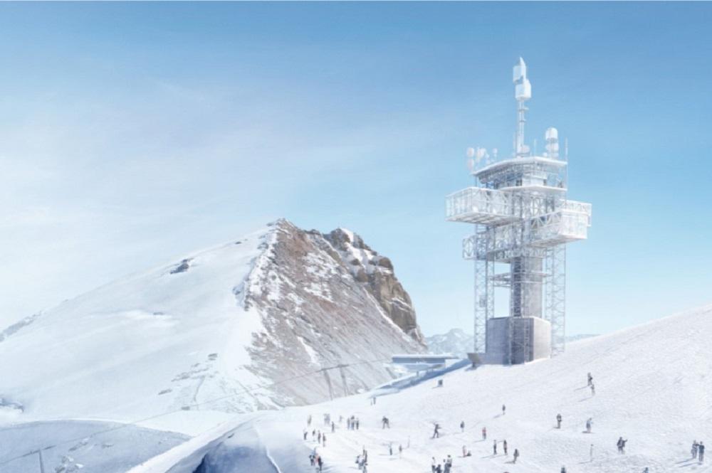 Visualisierung des ausgebauten Richtstrahlturms im Skigebiet Titlis Engelberg