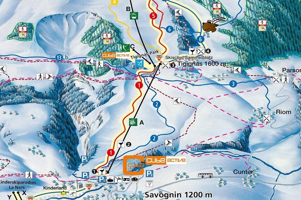 Ausschnitt des Pistenplans des Skigebiets Savognin