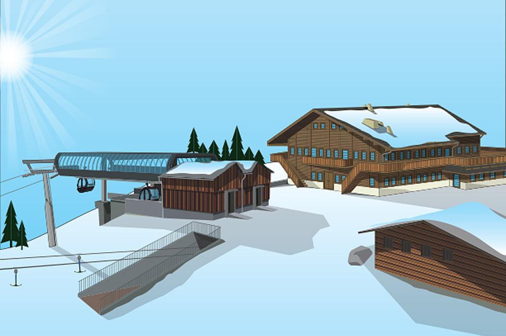 Entwurf der neuen Bergstation der Eggli-Bahn in Gstaad