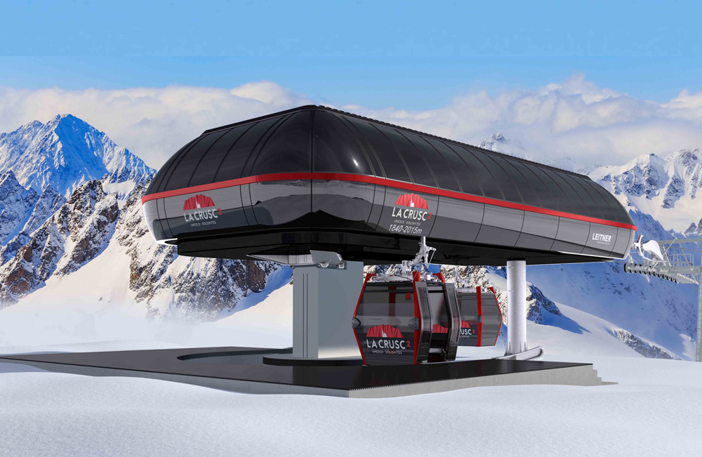 Entwurf der Bergstation der neuen La Crusc-Bergbahn