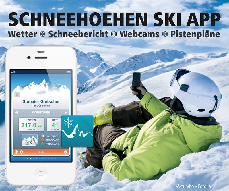 Ein Screenshot der Schneehoehen Ski App 2008
