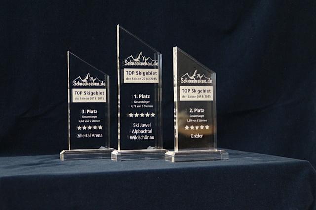 Der erste Schneehoehen.de Top-Skigebiet Award mit den Trophäen für die Plätze 1 bis 3