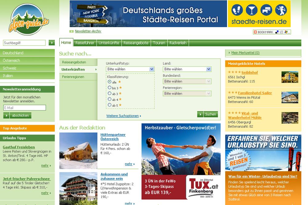 Ein Screenshot des Portals Alpen-Guide.de aus dem Jahr 2003