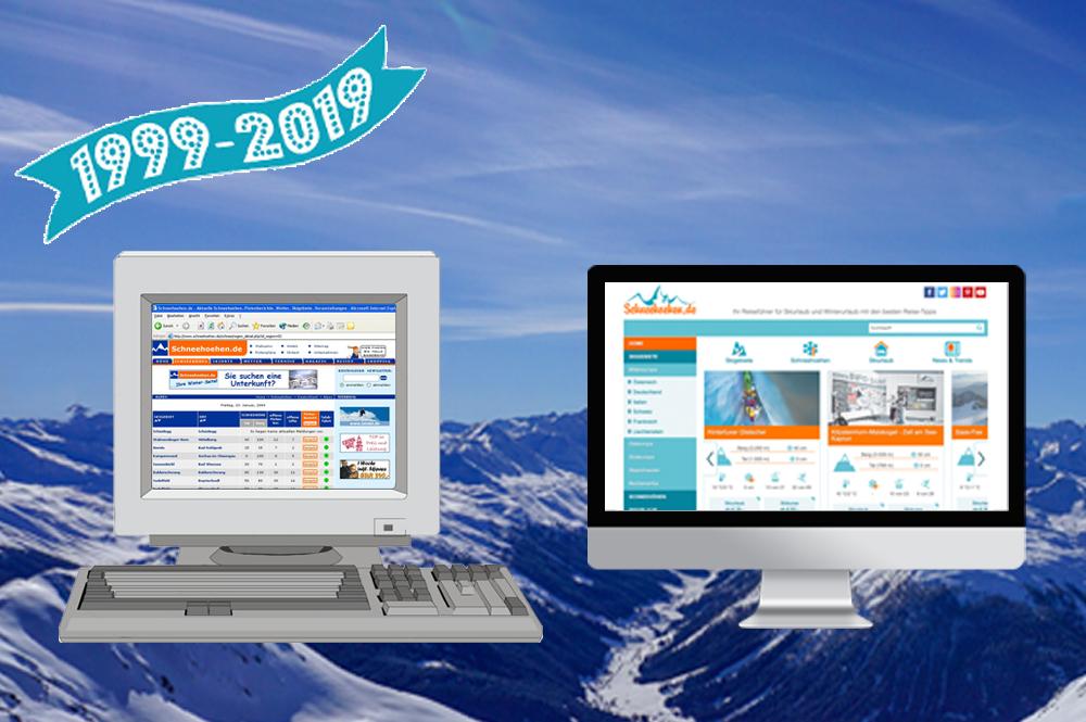 Zwei Computer mit unterschiedlichen Schneehoehen-Versionen