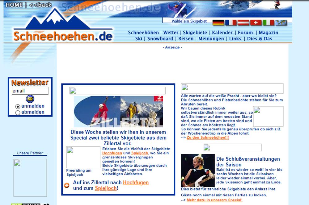 So sah unser Portal Schneehoehen.de im Jahr 2001 aus