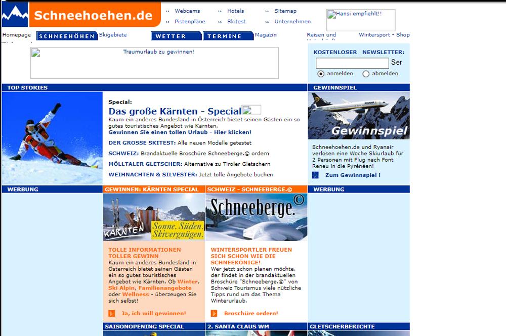 Schneehoehen.de im Jahr 2002