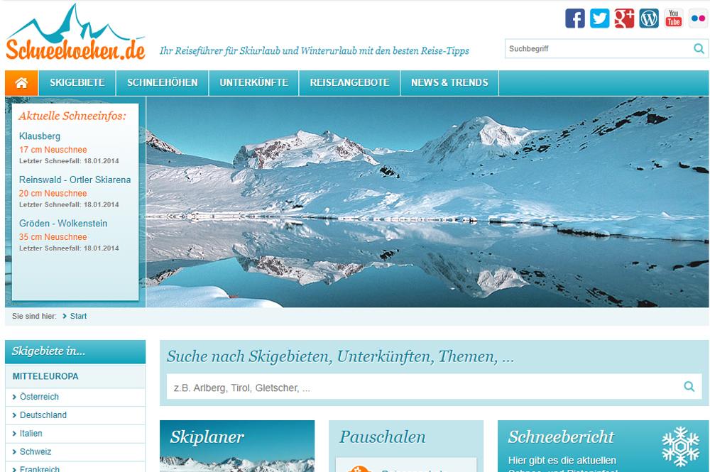 Screenshot von Schneehoehen.de 2014