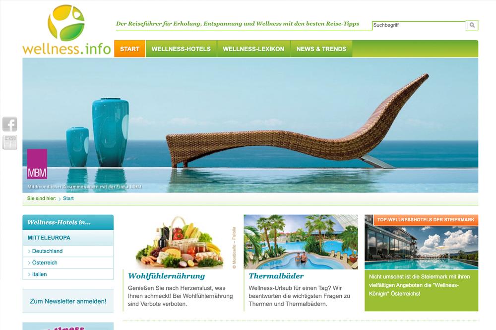 Ein Screenshot des Portals wellness.info